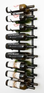 Wall mounted wine rack for magnum sized bottles. 9 rows 2 bottles deep. Comes in Black Satin, Platinum Series Nickel Finish, Black Chrome, and Chrome colours.