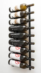 9 bottle wall mounted wine rack for Magnum Sized bottles. 9 rows 1 bottle deep. Satin Black, Platinum Series Nickel Finish, Black Chrome, and Chrome colours.