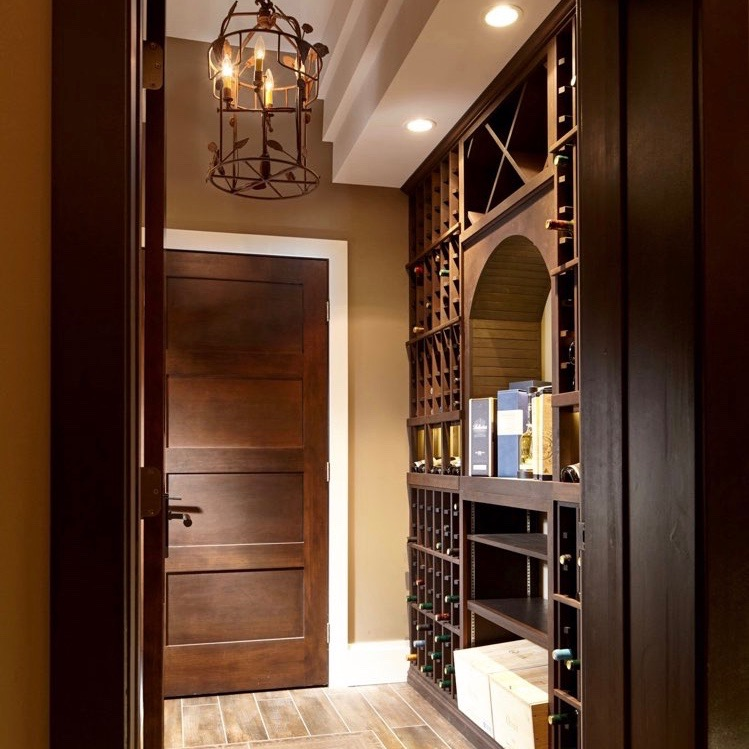 Interior Designer's West Vancouver Home with Custom Traditional Wood Wine Racks