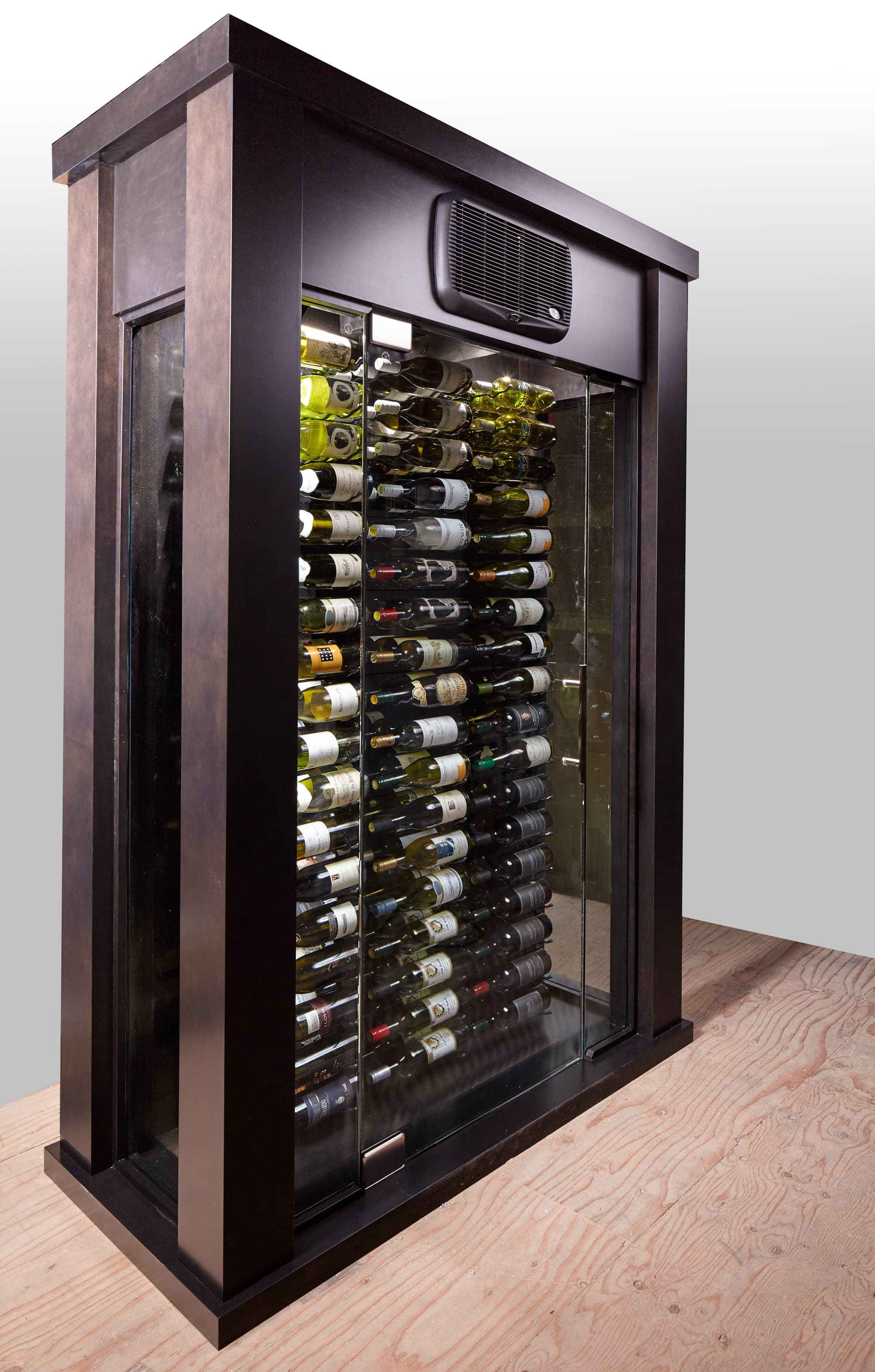 the stellar portable glass wine cellar blue grouse wine cellar. Black Bedroom Furniture Sets. Home Design Ideas