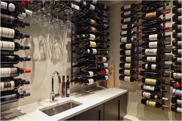 Cellar with Custom Cabinetry, Sink, Faucet and Vintage View in Coquitlam