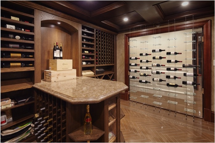 Custom Millwork and Float Wine Display Cellar in Vancouver
