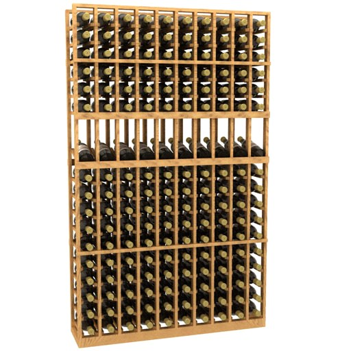 Four Column Curved Display Wood Wine Rack 6 Foot Blue