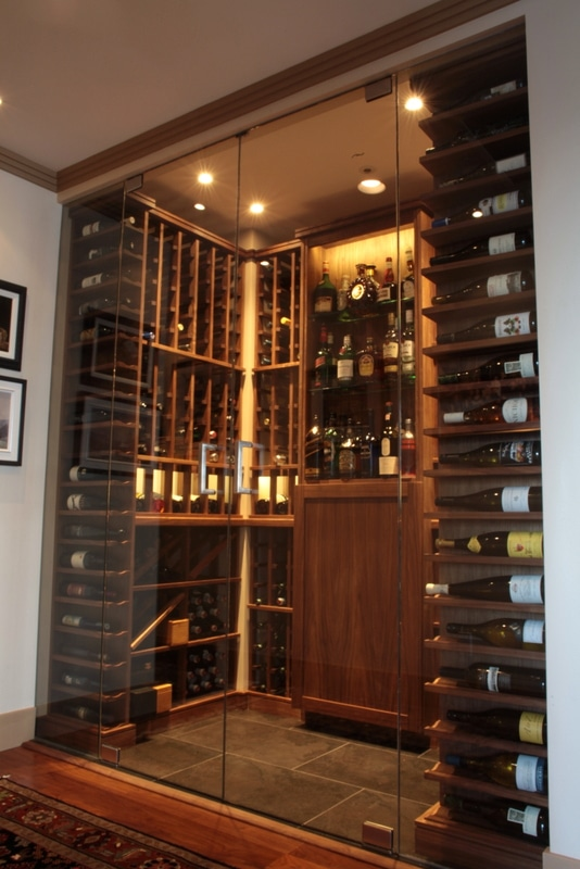 View Through Glass Doors into Completed Custom Wine Cellar : small wine cabinet - Cheerinfomania.Com
